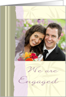 Engagement Announcement Photo Card - Lavender and Beige card
