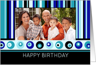 Happy Birthday Photo Card - Blue Stripes card