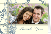 Wedding Thank You Photo Card - Blue Floral card