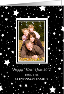 Happy New Year Photo Card - Black and White Stars card