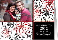 Happy New Year Photo Card - Red, Black and White Fireworks card