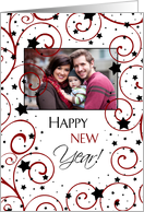 Happy New Year Photo Card - Swirls and Stars card