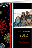 Happy New Year Photo Card - Colorful Stripes card