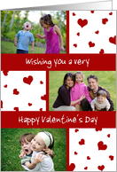 Happy Valentine's Day Photo Card - Red and White Hearts card