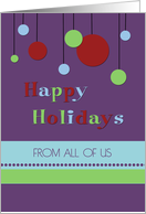 Happy Holidays from All of Us Card - Modern Decorations card