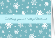 Merry Christmas for Secretary Card - Teal White Snow card