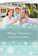 Merry Christmas New Home Photo Card - Teal White Snowflakes card