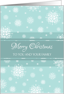 Merry Christmas for Secretary Card - Teal White Snowflakes card