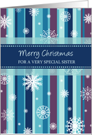 Merry Christmas Sister Card - Stripes and Snowflakes card