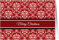 Merry Christmas Secretary Card - Red White Damask card
