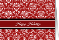 Happy Holidays Customer Christmas Card - Red White Damask card