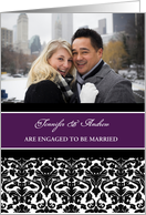 Engagement Announcement Photo Card - Purple Black Damask card