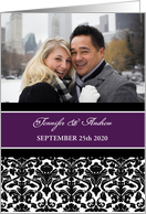 Wedding Invitation Photo Card - Purple Black Damask card