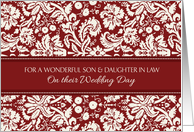 Wedding Congratulations Son & Daughter in Law - Red Damask card