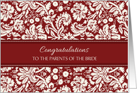 Wedding Congratulations Parents of the Bride - Red Damask card