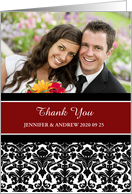 Thank You Wedding Gift Photo Card - Red Black Damask card
