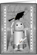 Caps off to the Graduate! Robot with Cap & Diploma card