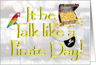 Talk Like a Pirate Day, Treasure Chest, Pirate Eye Patch & Parrot card