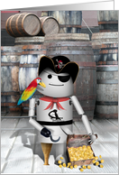 Talk Like a Pirate Day, Treasure Chest, Robot Pirate, Eye Patch & Parrot card
