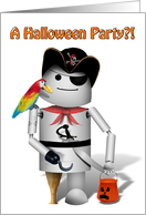 Haloween Party Invitation, Robot Pirate, peg leg, parrot, hook hand card