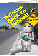 Robot at School Bus Stop for Back to School card