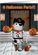 Halloween Party Invitation, Robot Pirate costume, peg leg, parrot, hook hand card