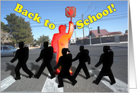 Back to School, Crossing guard, silhouette students crossing the street card