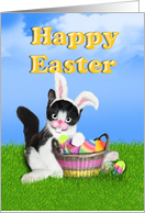 Happy Easter Basket,Colored Eggs And Kitten With Bunny Ears card