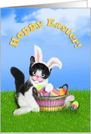 Hoppy Easter Kitten with Ears & Colored Eggs card