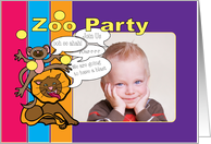 Customize Zoo Party Monkey and Lion Invitation card
