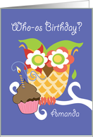 Amanda Colorful Owl and Cupcake Happy Birthday card
