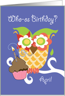 April Colorful Owl and Cupcake Happy Birthday card