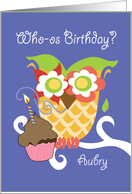 Aubry Colorful Owl and Cupcake Happy Birthday card