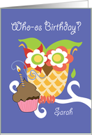Sarah Colorful Owl and Cupcake Happy Birthday card
