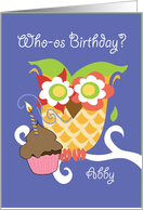 Abby Colorful Owl and Cupcake Happy Birthday card