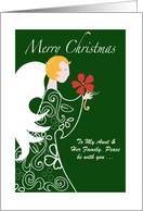 Personalize Aunt and Family Customize Angel Merry Christmas card