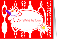 Invitation Let's Paint the Town Red Hat Ladies card