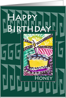 Honey Happy Birthday Green Greek Key card