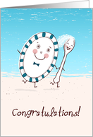 Dish Runs Away with the Spoon Wedding Congratulations card