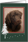 Chocolate Lab Portrait Painting Holiday Missing You Across the Miles card