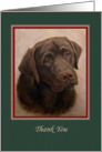 Chocolate Labrador Portrait Painting Thank You Pet Sitter card