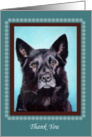 Thank You Rescue Donation, Black Shepard Mix Portrait Painting card