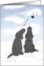 Christmas Party Invitation Black Labrador Dogs Singing Carolers, Funny card