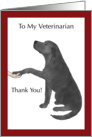 Thank You to Veterinarian - Black Lab Dog Puts Paw in Hand card