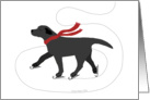 Black Labrador Ice Skating Dog Christmas Holiday card
