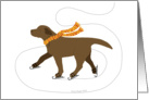Chocolate Labrador Ice Skating Dog Winter Holiday card