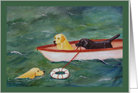 Lifeboat Rescue Labrador Dogs card