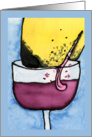 Yellow Labrador Dog Drinks Wine Party card