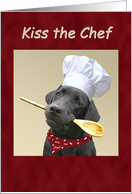 Chef Black Labrador Cooks for Kisses card