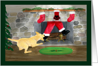 Christmas Invitation Yellow Labrador Dog Tugs Santa down chimney card
